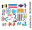 Image objects that are relevant to school - stock vector