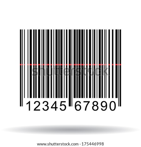 Image of a barcode with a laser scan isolated on a white background. - stock vector