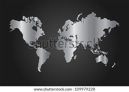Image of a black and silver world map vector illustration on a gray background. - stock vector