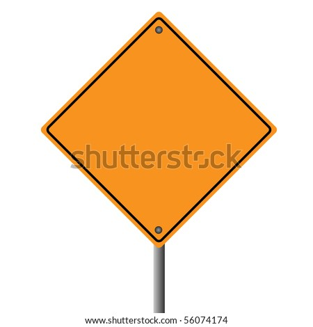 Image of a blank orange road sign.