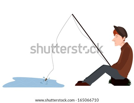 Image of a bored fisher catching a very small fish - stock vector