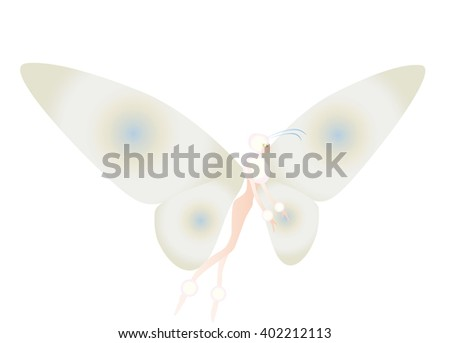 Image of a cabbage butterfly in fairytale