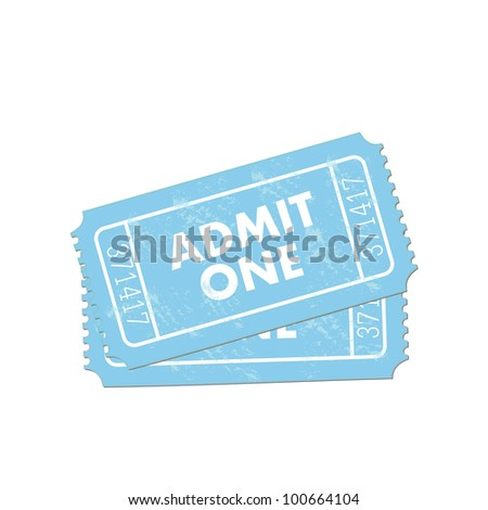 Image of a colorful, blue admit one ticket isolated on a white background. - stock vector