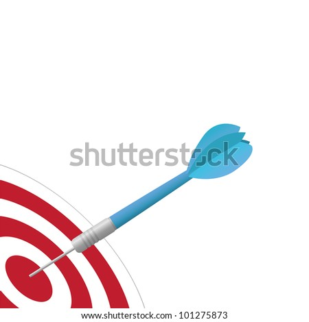 Image of a colorful, blue dart hitting a target isolated on a white background.