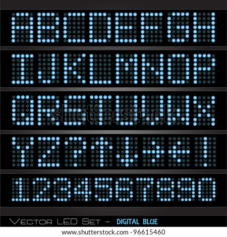 Image of a colorful, blue digital scoreboard with alphabet and numbers. - stock vector