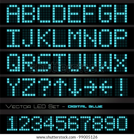 Image of a colorful, blue led font set on a dark background.