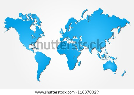 Image of a colorful blue world map isolated on a white background.
