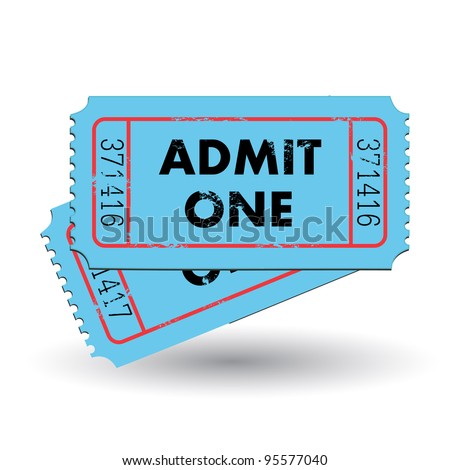 Image of a colorful, vintage admit one ticket isolated on a white background. - stock vector