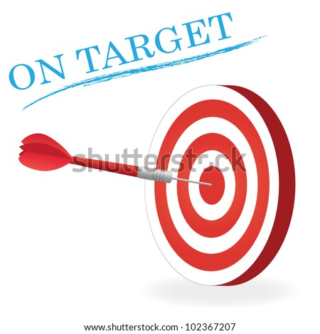 Image of a dart hitting a target isolated a white background.