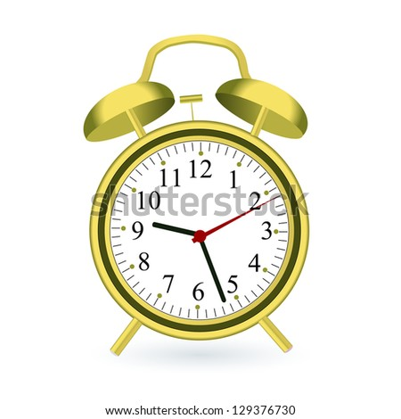 Image of a gold alarm clock isolated on a white background. - stock vector