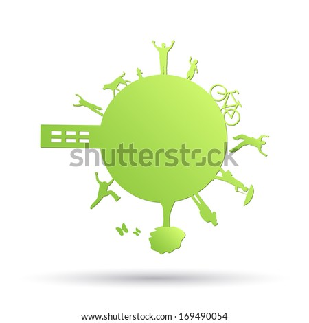 Image of a green planet with objects isolated on a white background.