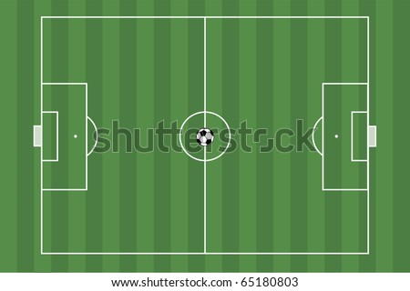 Image of a green soccer field with a soccer ball. - stock vector
