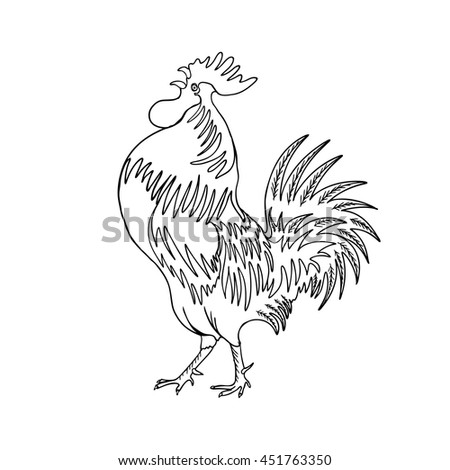 Image of a hand drawing cock or rooster with black outline on white background. Chinese zodiac rooster design element for Chinese New Year decoration. Drawing for coloring. Vector. - stock vector