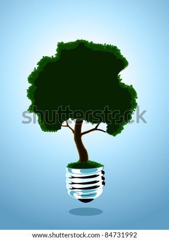 Image of a light bulb with a growing tree - stock vector