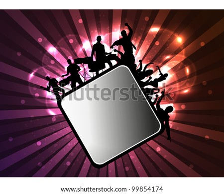 Image of a musical group with audience and copy space for your text on rays background. EPS 10, can be use as flyer, poster or banner for music party and concerts. - stock vector