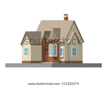 image of a private house. vector flat illustration