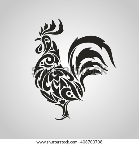 Image of a rooster on a white background. Black cock. Vector illustration. - stock vector