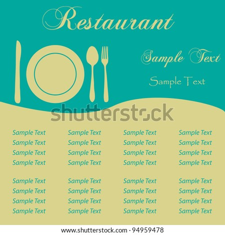 Image of a sample restaurant menu with editable text. - stock vector