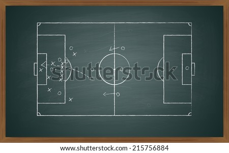 image of a soccer tactic on board. Transparency used - stock vector