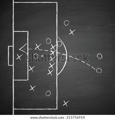 image of a soccer tactic on board. Transparency used