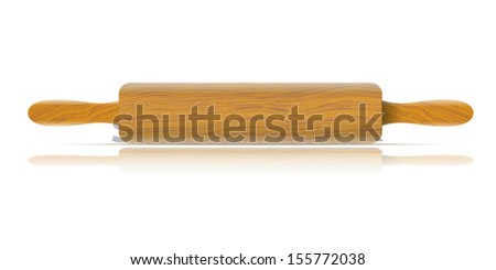 Image of a traditional rolling pin with reflection - stock vector