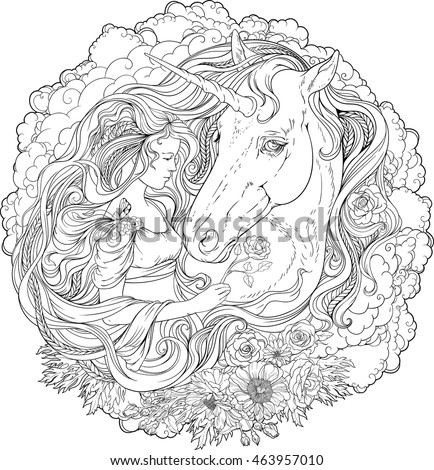 Coloring Pages Unicorn Head : Horse head coloring page stock images royalty free