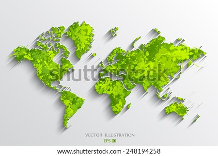 Image of a vector world map. Blots - stock vector