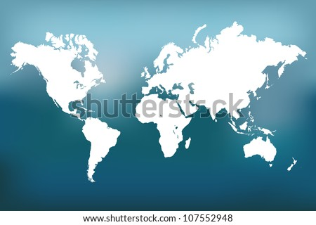 Image of a vector world map with a colorful blue background. - stock vector
