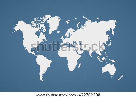 Image of a vector world map with a colorful blue background. Vector illustration. EPS 10 - stock vector