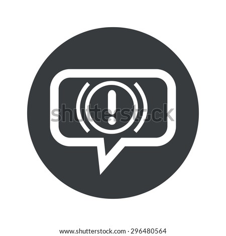 Image of alert sign in chat bubble, in black circle, isolated on white - stock vector