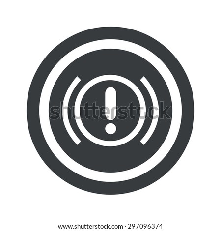Image of alert sign in circle, on black circle, isolated on white - stock vector