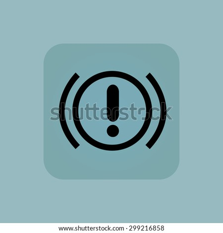 Image of alert sign in square, on pale blue background - stock vector