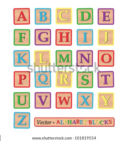 Image of alphabet blocks isolated on a white background. - stock vector