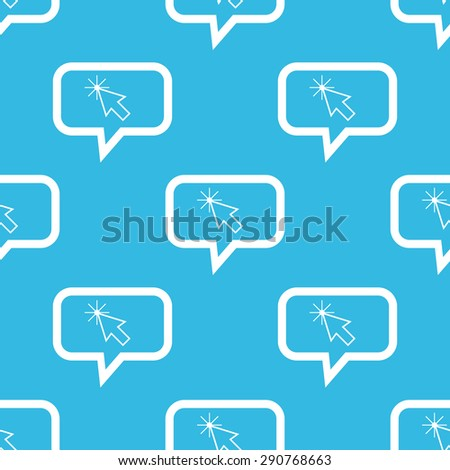 Image of arrow cursor in chat bubble, repeated on blue background