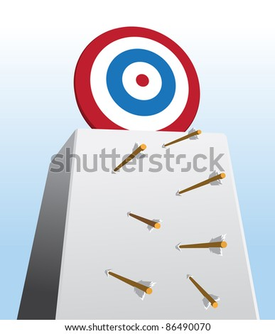 Image of arrows missing their shots toward too high target - stock vector
