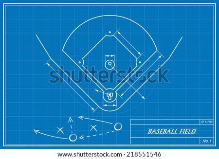 Image baseball field on blueprint transparency vectores en stock image of baseball field on blueprint transparency used malvernweather Image collections