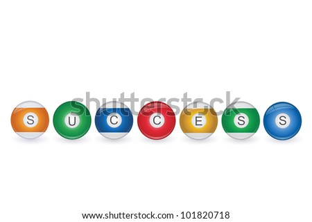 Image of billiard balls spelling Success isolated on a white background. - stock vector