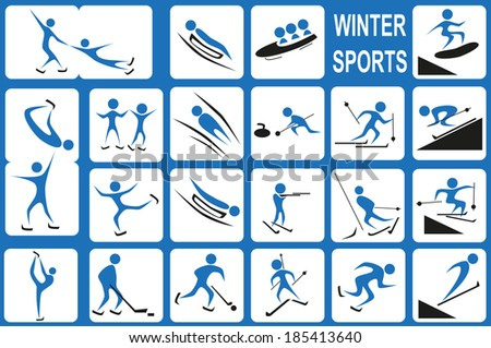 Image of blue icons with winter activities port on a white background.