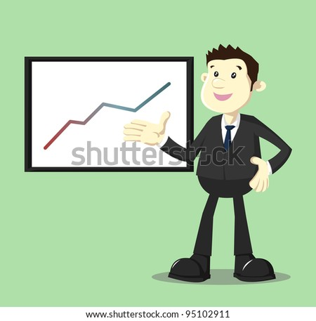 Image of businessman in suit showing growing up performance graphic