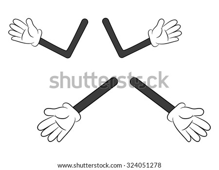 Image of cartoon human gloves hand with arm gesture set. Vector illustration isolated on white background. - stock vector