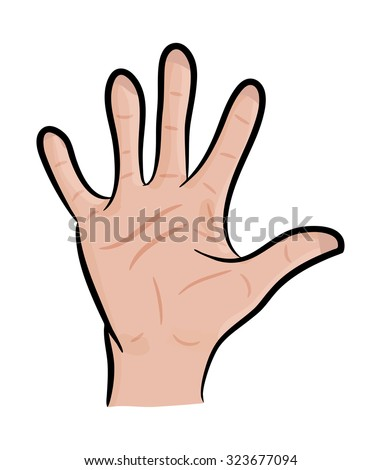 Image of cartoon human hand, gesture open palm, waving, . Vector illustration isolated on white background. - stock vector