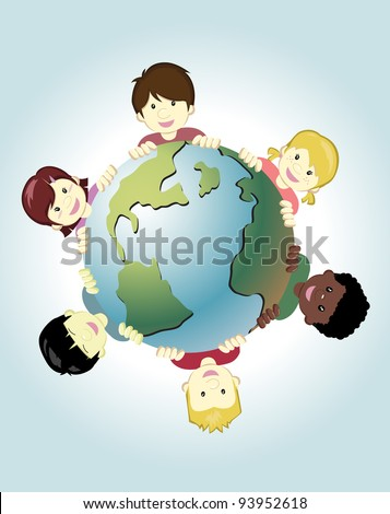 Image of children around the world holding the earth as symbol of peace - stock vector