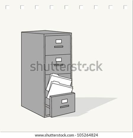 image of classic file cabinet on vector - stock vector