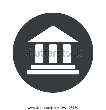 Image of classical building with pillars in black circle, isolated on white - stock vector