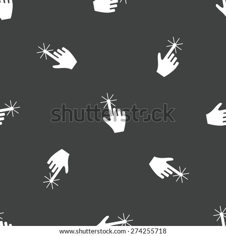 Image of clicking finger repeated on grey background - stock vector