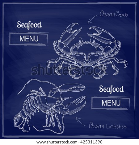 Image of crab and lobster to the menu in restaurants - stock vector