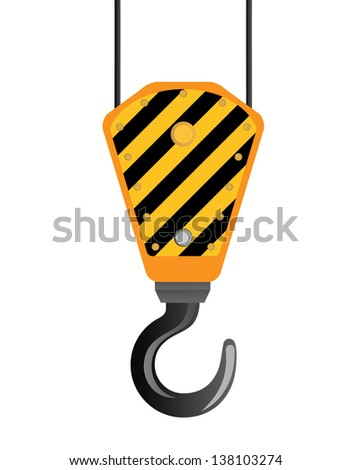 Image of crane beam with a hook on a white background. - stock vector