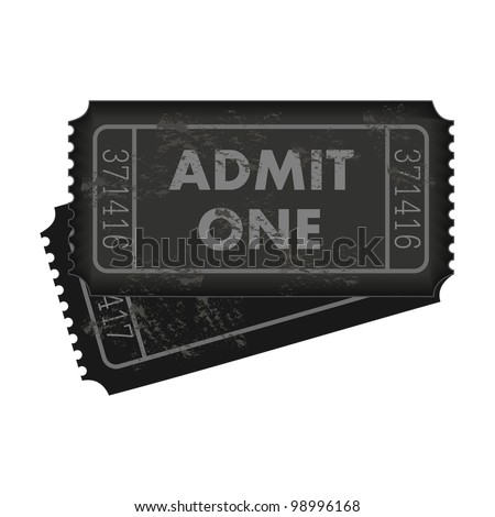 Image of dark gray admission tickets isolated on a white background. - stock vector