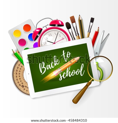 Image of digital tablet on students desk showing back to school message. Modern school background welcome back to school with rocket pencil creativ idea and with supplies. Vector illustration