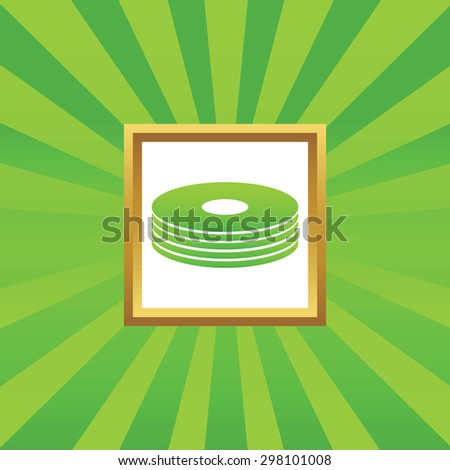 Image of disc pile in golden frame, on green abstract background - stock vector
